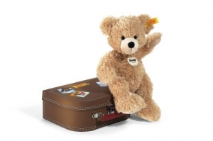 Fynn dangling Teddy bear in suitcase